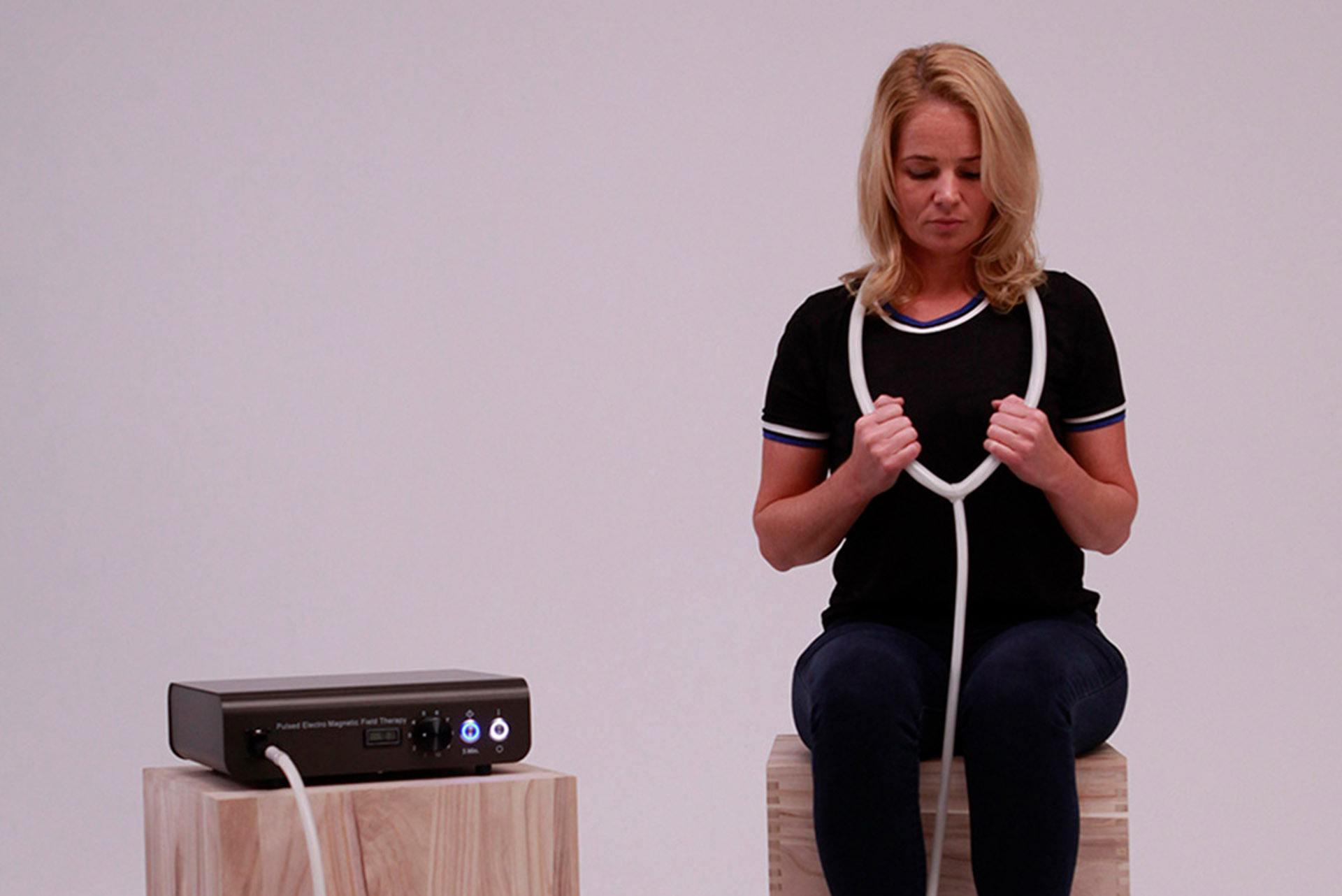 PEMF neck application TeslaFit PEMF therapy system